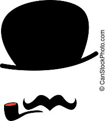 cigarro, hipster, bigote, hombre
