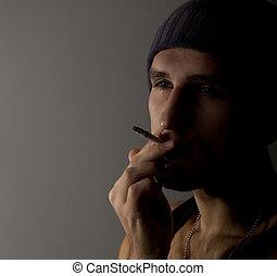 cigarro, homem, jovem, retrato