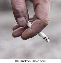 cigarro, mão, homem