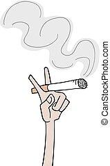 cigarro, mano