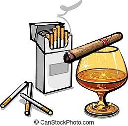 cigarros, álcool