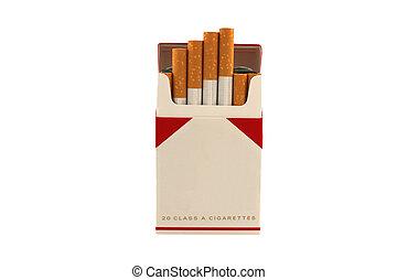 cigarros, branca, isolado, fundo, pacote