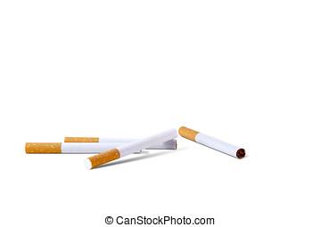 cigarros, close-up, fundo branco, contra