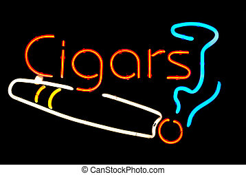 Cigars with smoke neon sign isolated on black background