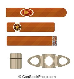 Cigars with lighter and guillotine vector illustration.