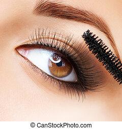 ciglia, applicare, makeup., mascara., lungo, make-up.