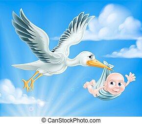 cigogne, bébé, illustration