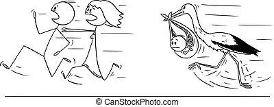 cigogne, dessin animé, remettre, loin, ou, illustration, ...