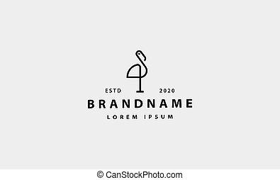 cigogne, icône, vecteur, conception, oiseau, illustration, logo