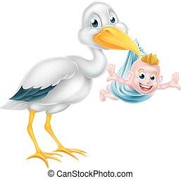 cigogne, né, tenant bébé, nouveau, dessin animé