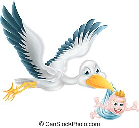 cigogne, voler, nouveau né, tenant bébé, oiseau