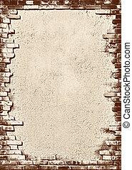 cihlový stěna, grungy, konstrukce