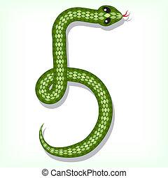 cijfer, 5, slang, font.