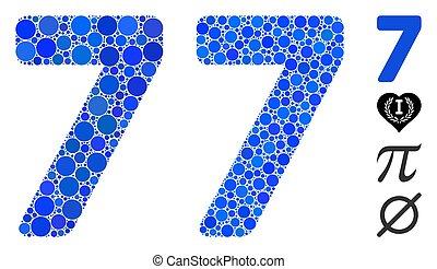 cijfer, 7, mozaïek, pictogram, cirkels