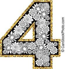 cijfer, alfabet, hand, 4, getrokken, design.