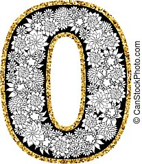 cijfer, alfabet, hand, nul, getrokken, design.