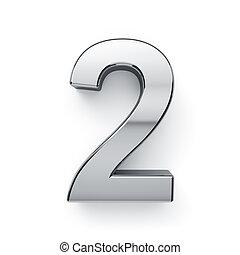cijfer, render, -, metalic, 2, simbol, 3d