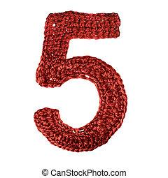 cijfer, van, breien, alfabet