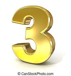 cijfers, 3, numeriek, -, drie