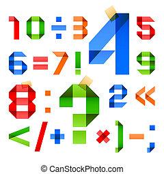 cijfers, gekleurde, ineengevouwen , -, papier, arabische ,...