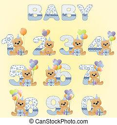 cijfers, schattig, jarig, verzameling, baby