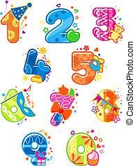 cijfers, spotprent, getallen, speelgoed