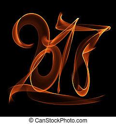 cijfers, vuur, licht, vliegen, nieuw, geschreven, black , getallen, achtergrond, jaar, vlam, 2017, vrolijke