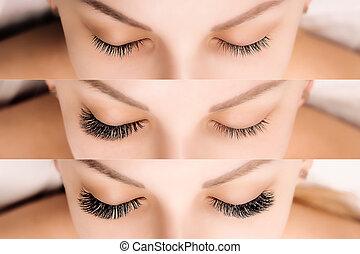 cil, yeux, extension., femme, avant, after., comparaison