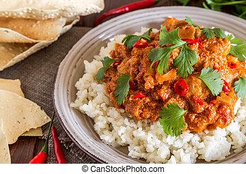 cilantro., 鶏, 米, カレー