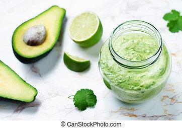 cilantro, avocado, griekse , aankleding, yoghurt, kalk