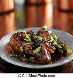cilantro, garnirować, kurczak, trinidad