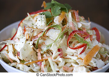 Cilantro Lime Slaw - A bowl of cilantro , lime cole slaw.