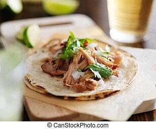 cilantro, mexicain, oignon, tacos, carnitas, authentique