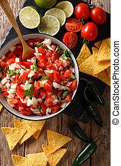 cilantro, mexicano, cebolas, vertical, tomates, topo, de, pimenta, jalapeno, pico, close-up., gallo, vista