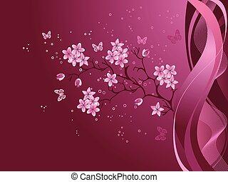 ciliegia, borgogna, fondo, fiore