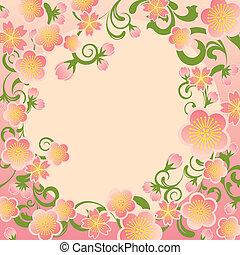 ciliegia, cornice, fiori