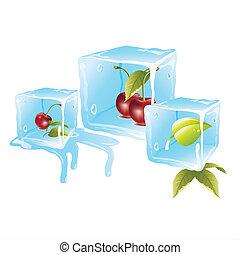 ciliegia, cubi, ghiaccio