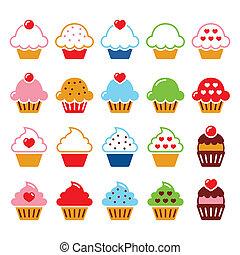 ciliegia, cupcake, cuore, icone