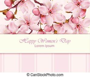 ciliegia, donne, vettore, ramo, fiori, giorno, scheda, felice
