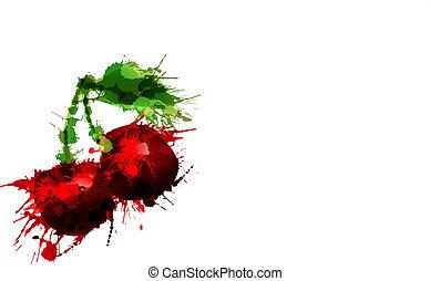 ciliegia, fatto, di, colorito, schizzi, bianco, fondo