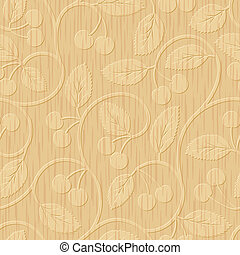 ciliegia, ornamento, seamless, legno, intagliato, floreale