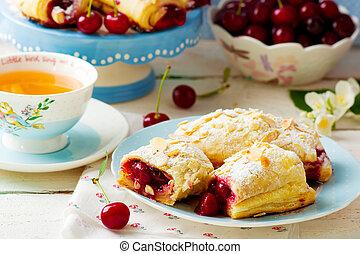 ciliegia, pasta, torte, soffio