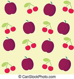 ciliegia, prugna, fondo