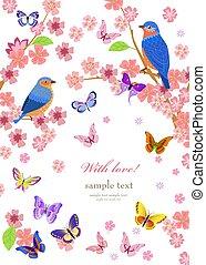 ciliegia, romantico, fiore, uccelli, albero, cartolina auguri, yo