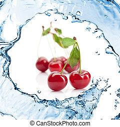 ciliegia rossa, con, foglie, e, acqua, schizzo, isolato, bianco