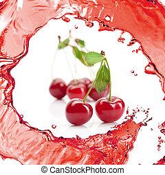 ciliegia rossa, con, foglie, e, succo, isolato, bianco