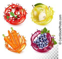 ciliegia, succo, vettore, pera, frutta, set, carrot., crowberry, uva, splash.