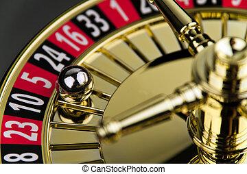 cilinder, van, een, roulette, kansspel