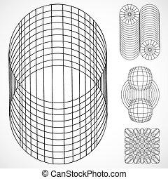 cilinder, vector, versieringen