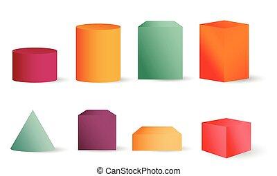 cilinders, blokje, gekleurde, puntzak